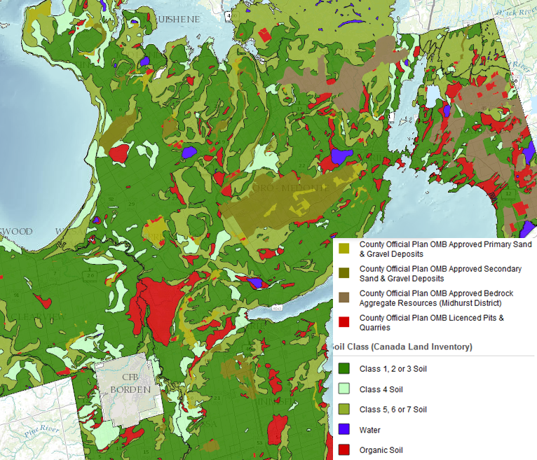 County of Simcoe Aggregate Resources Layered Against Soil Classes