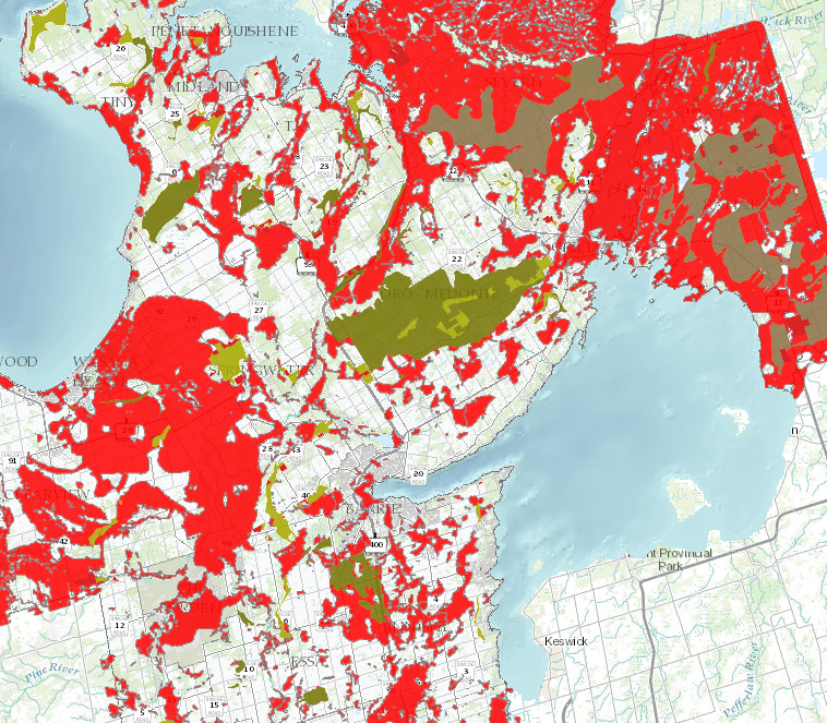 Map showing aggregate resources in Simcoe County, overlaid with Highly Vulnerable Aquifers.