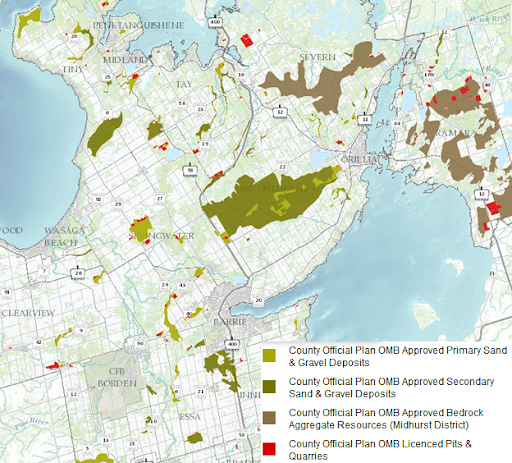 Map showing aggregate resources in Simcoe County, Ontario