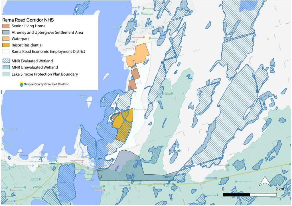 A map showing where development is proposed, and showing how it will impact wetlands. Map by SCGC using layers from Simcoe County, the MNRF, and features drawn from the proposal. Click for a larger version.