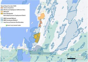 A map showing where development is proposed, and showing how it will impact wetlands. Map by SCGC using layers from Simcoe County, the MNRF, and features drawn from the proposal.