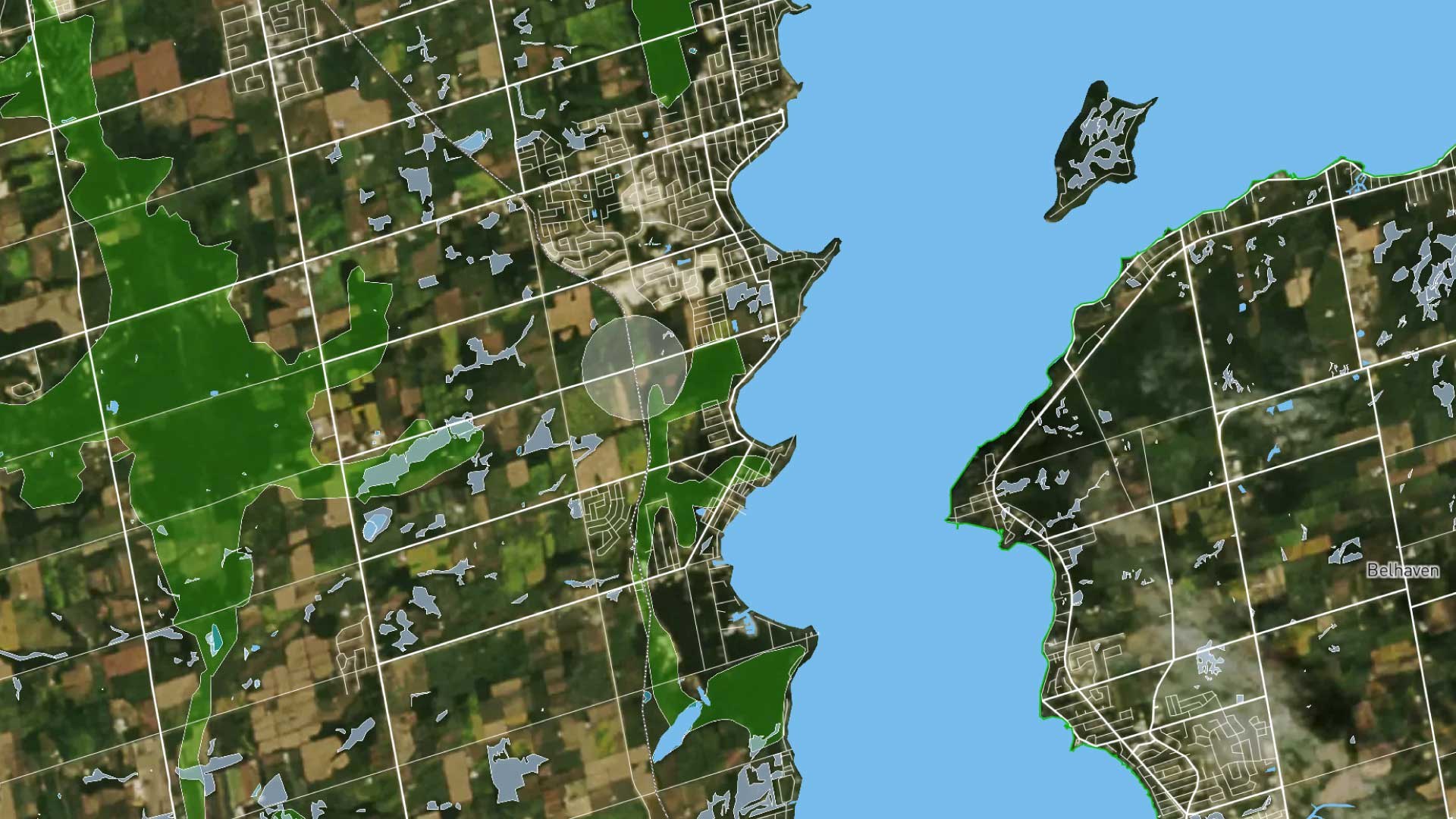 A map view of where The Orbit is proposed to be built. Natural features are overlaid.
