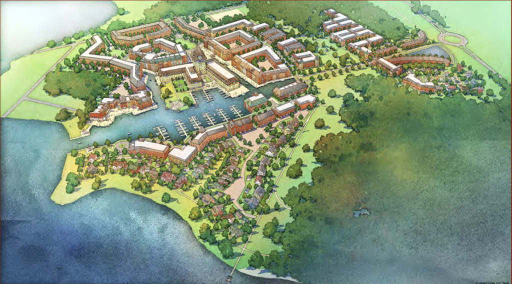 Rendering of aerial view of Harbour Village at the Narrows. Source: Rama Road Corridor MZO package, Ramara Township
