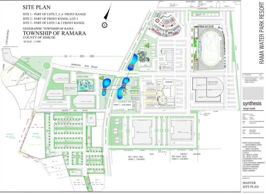 Site plan of Ramara Waterpark Resort. Source: Rama Road Corridor MZO package, Ramara Township.