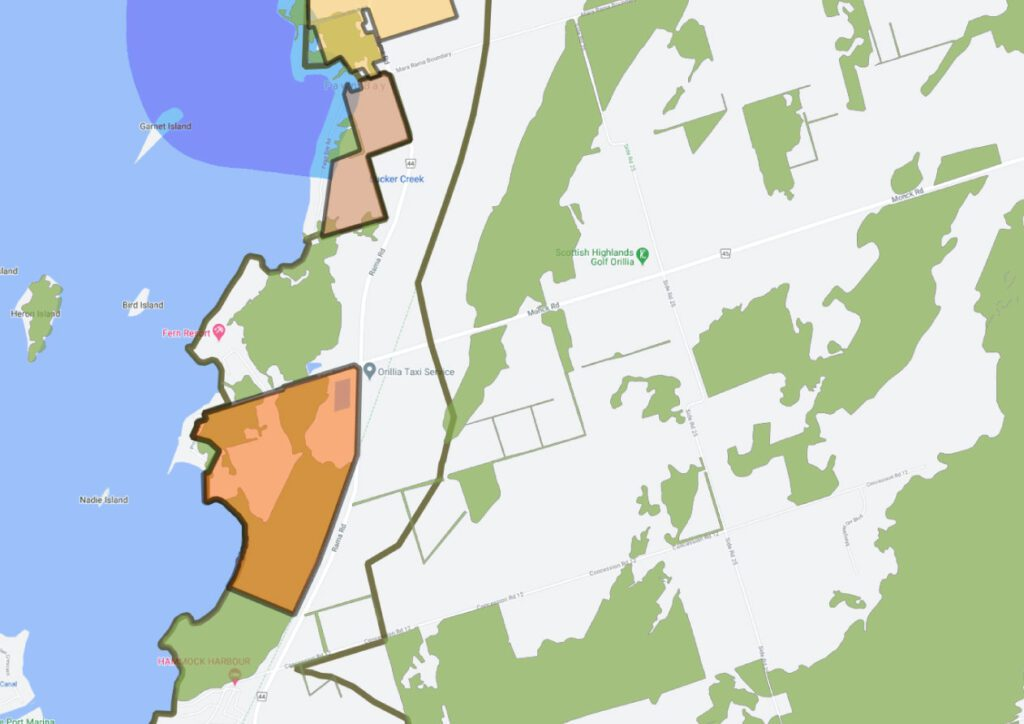 Close-up showing overlap of forested areas with the proposed development.