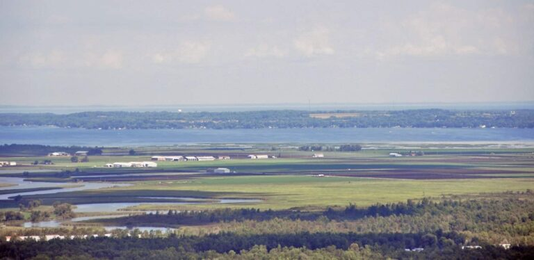 Arial photo of the Holland Marsh, with Lake Simcoe in the distance. Credit Jeff Laidlaw.