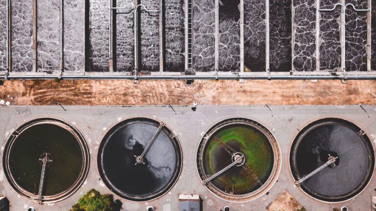 Bird's eye view of a wastewater treatment facility. Credit Van Bandura.
