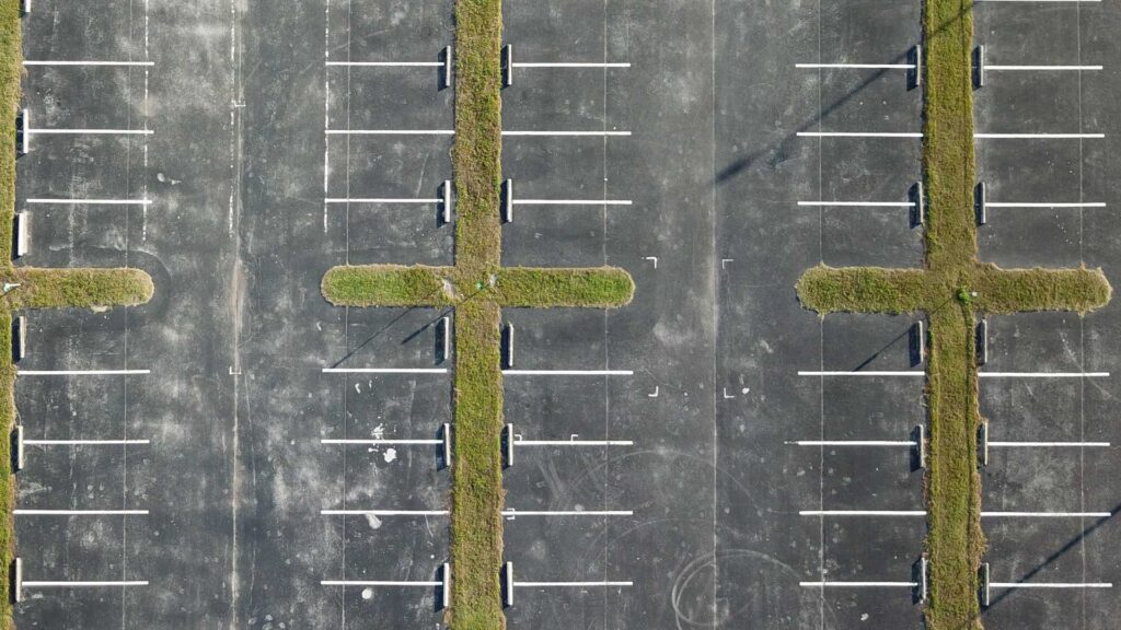 Aerial photo of an empty parking lot. Credit Anita Denunzio.