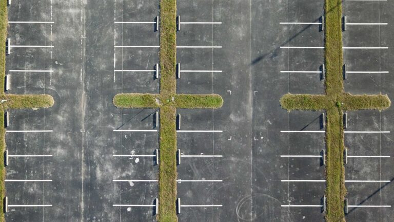Aerial photo of an empty parking lot. Credit Anita Denunzio.
