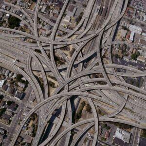 Ariel picture of a massive highway interchange.